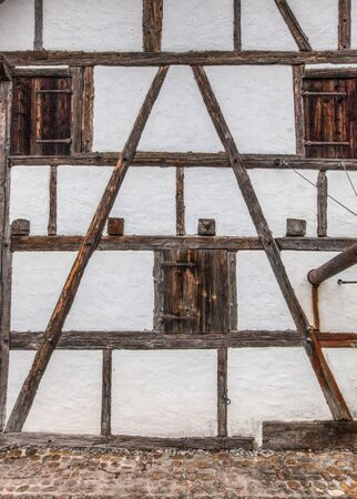 An old timber framed wall building  house in Switzerland photo