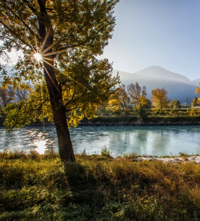 rhone: View of Rhone river banks near Martigny, Switzerland