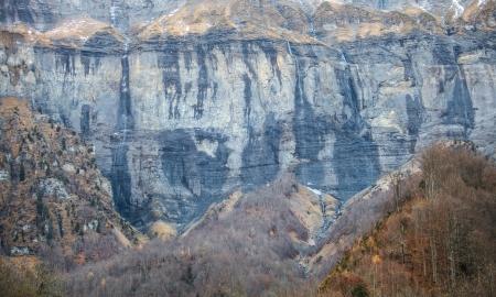 cirque: The mountain cliff of Cirque du Sixt fer a Cheval in France
