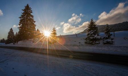 jura: Winter landscape and sunrise at Jura Mountain, Switzerland
