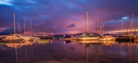 Sailboats at Lake Geneva at dawn  photo