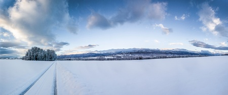 Winter landscape in Geneva, Switzerland after a snow storm photo