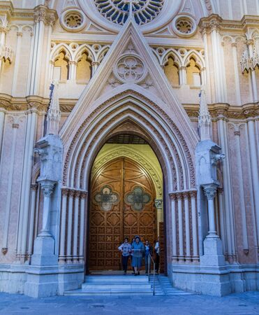 neo gothic: December 13th, 2012, Malaga, Spain. Temple of the Sacred Heart neo gothic church in Malaga, Spain.