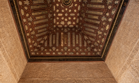 December 15th 2012. Alhambra, Granada, Spain. Motif and intricate ceiling details of Alhambras Nasrid Palace