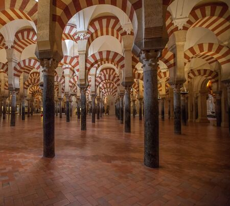 Columns, archers and pillars of the Great Mosque-Cathedral of Cordoba, Spain.