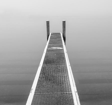 Boat pier in Black and White photo
