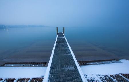 Boat pier at Lake Geneva, Switzerland photo