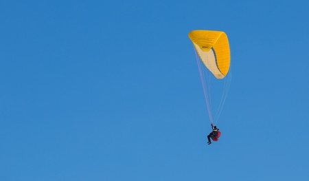 oex: Chateau de Oex, Switzerland, 26th January 2013. Paraglider at the 35th International Hot Air Balloon festival. It is being held from 26th January to 3rd February 2013.