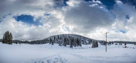 jura: Winter at Jura mountain range, La Givrine, Switzerland. Stock Photo
