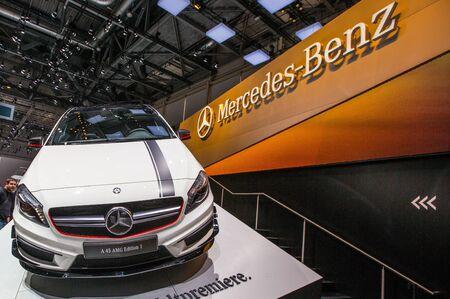83rd: GENEVA, SWITZERLAND - MARCH 7TH, 2013.  Mercedes-Benz A45 AMG at the 83rd Geneva International Motorshow  on March 7th, 2013 at Geneva, Switzerland.
