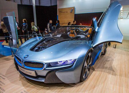 83rd: GENEVA, SWITZERLAND - MARCH 7TH,  2013. BMW i8 Concept Car the 83rd Geneva International Motorshow  on March 7th, 2013 at Geneva, Switzerland.