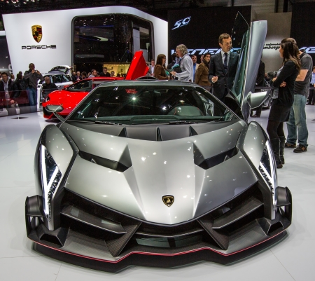83rd: GENEVA, SWITZERLAND - MARCH 7TH, 2013. Lamborghini Veneno at the 83rd Geneva International Motorshow  on March 7th, 2013 at Geneva, Switzerland. Editorial
