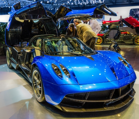 83rd: GENEVA, SWITZERLAND - MARCH 7TH, 2013. Pagani Huayra at 83rd Geneva International Motorshow  on March 7th, 2013 at Geneva, Switzerland.