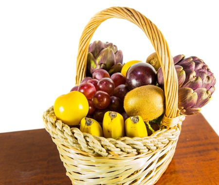 A variety of fruits in a basket  photo