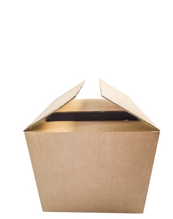 carboard box: Cardboard box over white background Stock Photo