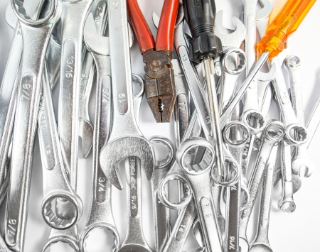open end wrench: Various type of handyman tools over white background