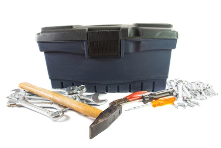 open end wrench: An old tool box with handyman tools