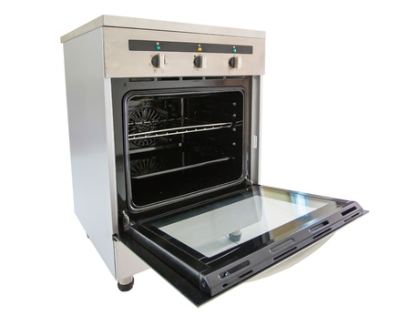 Electric stove oven over white background