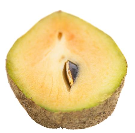 Sapodilla or chiku fruits over white background photo