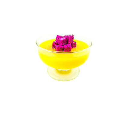 glass topped: Mango pudding with bite sized dragon fruit on top