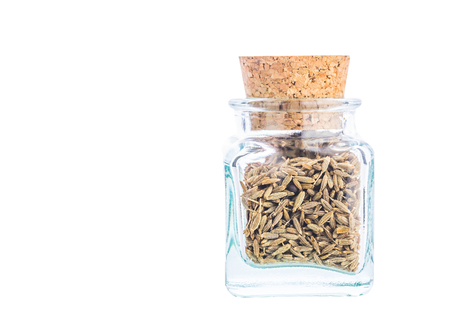 corked: Coriander or cilantro seed spices in a small corked bottle Stock Photo