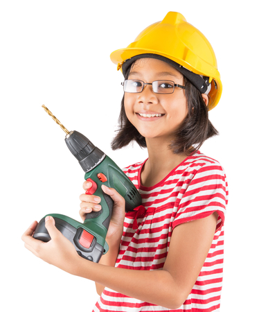 bakground: Little asian malay girl with power drill over white bakground