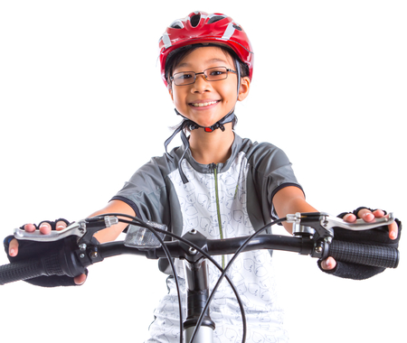 biker girl: Young Malay Asian girl riding a mountain bike with a white background