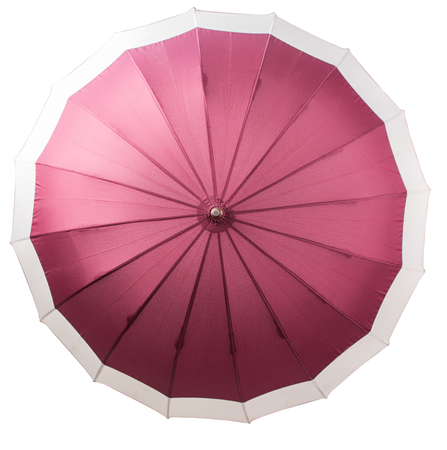 An open umbrella over white background