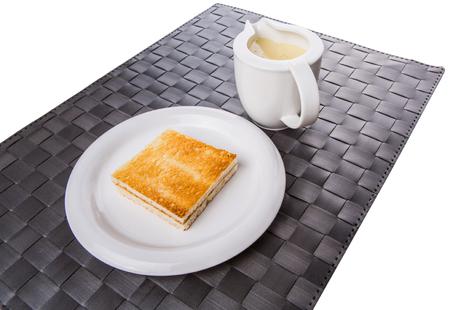 condensed: Bread toast and condensed milk Stock Photo