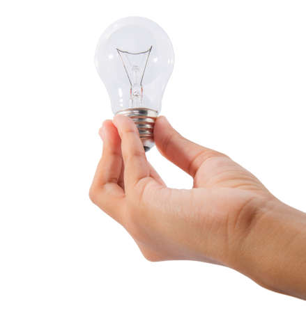 A teenage girl hand holding a light bulb over white  photo