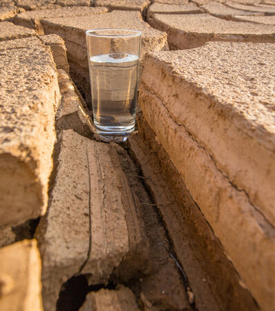 Male hand holding a glass of water over parched soil during drought and dry  photo