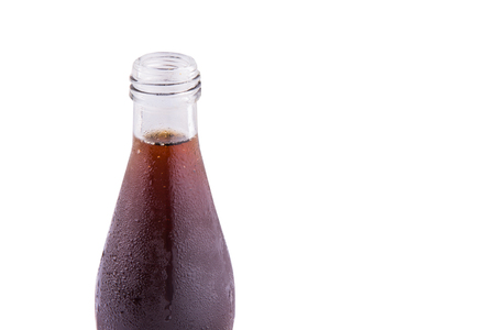 A bottle of cool and refreshing cola drink over white background
