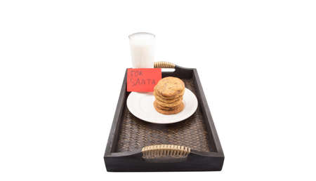Milk, home made cookies and a note for Santa Claus photo
