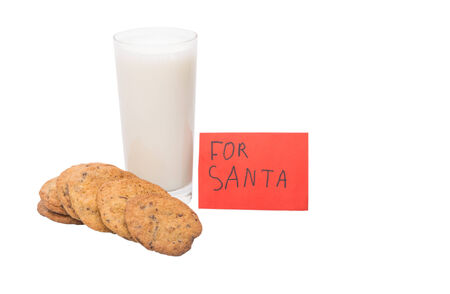 Milk, home made cookies and note for Santa Claus on Christmas Eve  photo