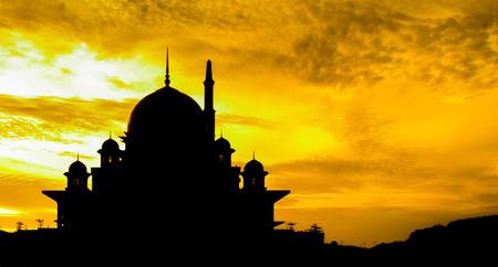 Putra mosque silhouette in Putrajaya, Malaysia