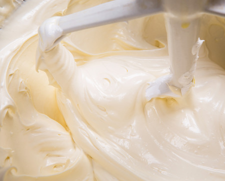 cake mixer: Close up view of mixing cake ingredients in a standing mixer bowl