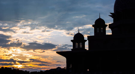 prayer tower: Islamic mosque dome silhouette