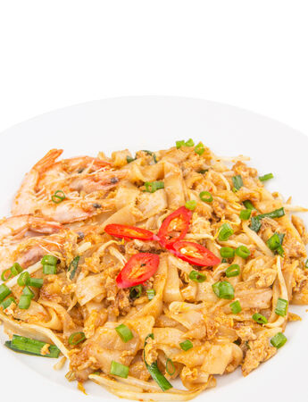 A plate of fried char kway teow photo