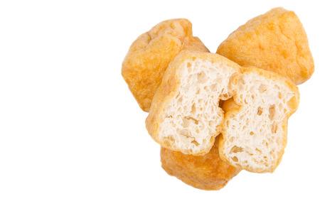 bean curd: Deep fried bean curd tofu over white background