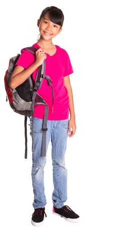 Young Asian Malay girl student with a backpack Stock Photo