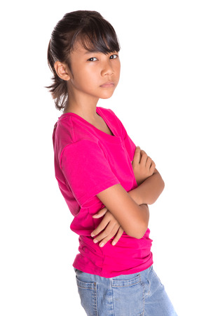 Young Asian Malay girl in pink tshirt photo