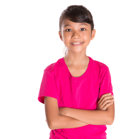 t shirt model: Young Asian Malay girl in pink tshirt