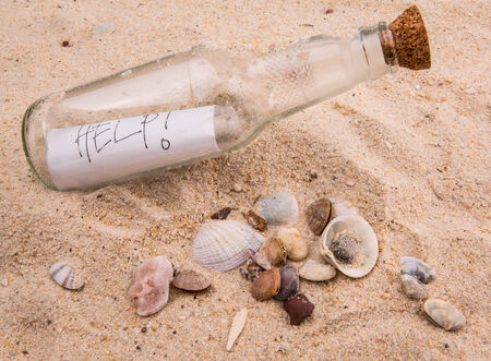 Concept image of a message HELP in a bottle photo