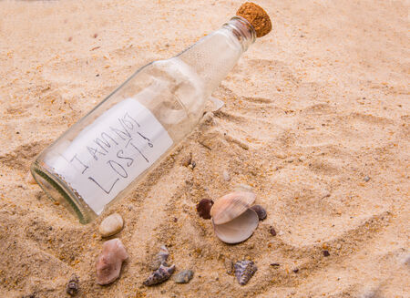 Concept image of a message I AM NOT LOST in a bottle photo