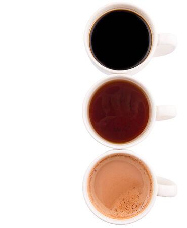 Heiße Getränke Schokolade, Tee Und Kaffee Auf Schwarz Gewebt ...