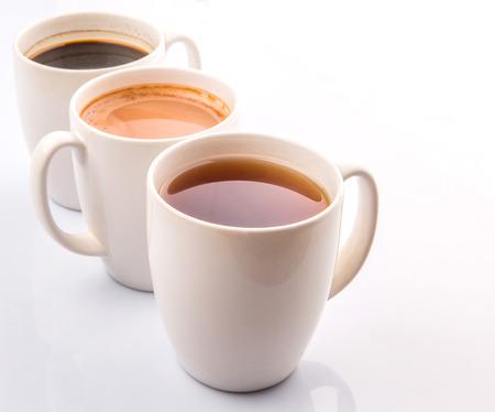 Heiße Getränke Schokolade, Tee Und Schwarzer Kaffee Lizenzfreie ...