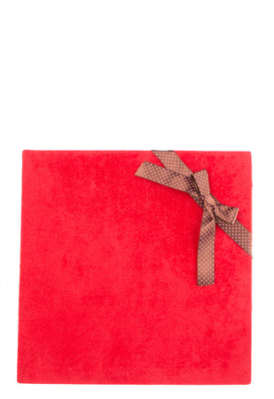 red gift box: Red gift box over white background