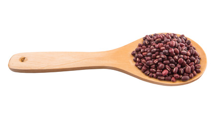 azuki bean: Adzuki or Azuki bean on wooden spoon over white background Stock Photo