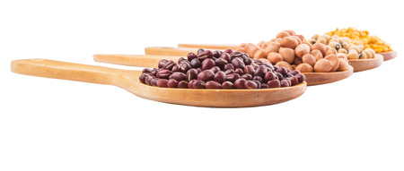 adzuki bean: Peanut, dal lentils, black eye bean and adzuki bean on wooden spoon Stock Photo