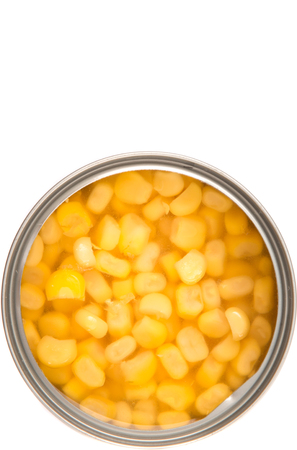 tinned: Sweet corn in a tin can over white background